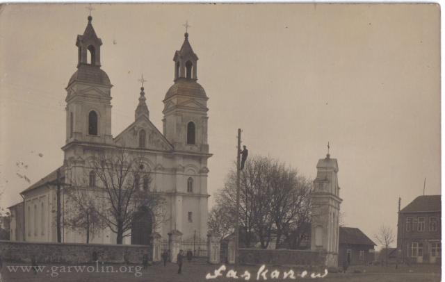 1. Łaskarzew - kościół w 1932 roku. Źródło: www.psl.garwolin.pl