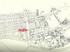 Garwolin, centrum wg planu 1946/7. ( na planie zaznaczona lokalizacja projektowanego ratusza )