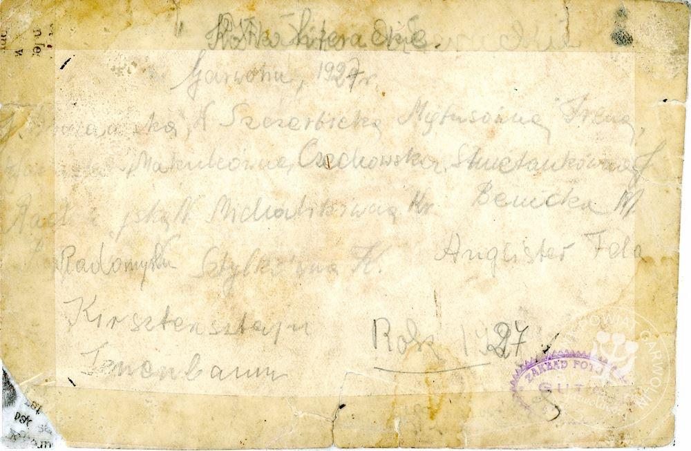 Kółko Literackie - Garwolin 1927 rok. Udostępniła rodzina Makulec.