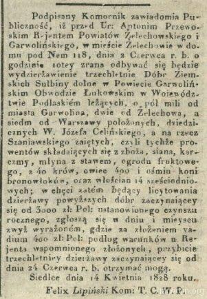 7. Gazeta Warszawska 1828 nr 142