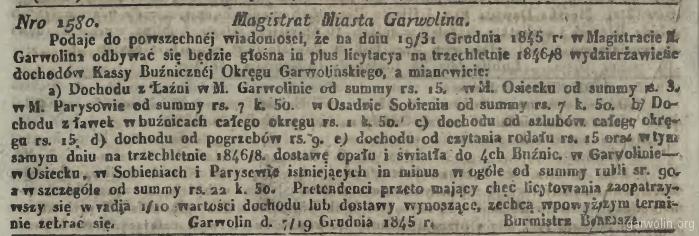 5. Ogłoszenie Magistratu Garwolina z 1845 roku.