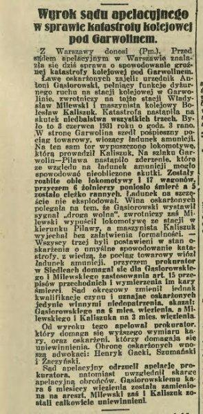"""123. Wyrok Sądu Apelacyjnego w sprawie katastrofy kolejowej, która miała miejsce 3 czerwca 1931 roku powiędzy stacjami Garwolin-Pilawa.  """"Życie Stolicy"""" z dnia 18.10.1932"""