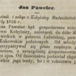 Jan Pawelec - sołtys Kobylnicy ur. ok. 1776 - zm. 1856