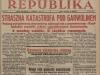 """122. Artykuł z 4 czerwca 1931 roku na okładce czasopisma """"Republika"""" o katastrofie kolejowej pomiędzy stacjami Garwolin-Pilawa."""