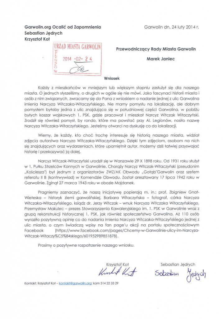 Wniosek Narcyz Witczak-Witaczyński