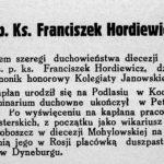 Ks. Franciszek Hordiewicz (1867-1936) z Łaskarzewa