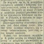 Czytelnia dla kolejarzy w Pilawie