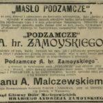 Masło hr. Andrzeja Zamoyskiego z Podzamcza